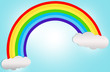 Rainbow on background blue