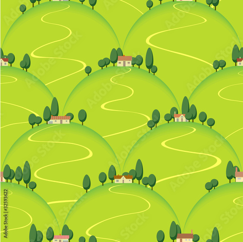 Poster Op straat landscape country house on hill vector seamless background