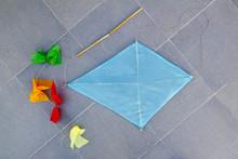 Blue Children Kite Traditional Diamond Shape On Floor