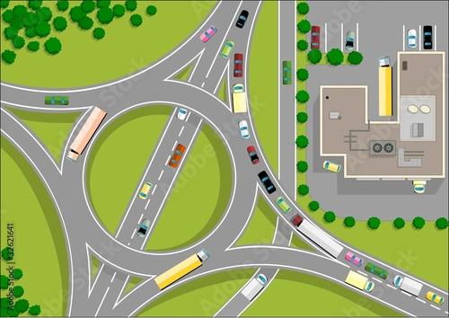 Poster de jardin Route traffic roundabout
