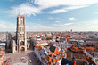 canvas print picture - Ghent, Belgium from above