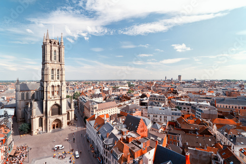 Slika na platnu Ghent, Belgium from above