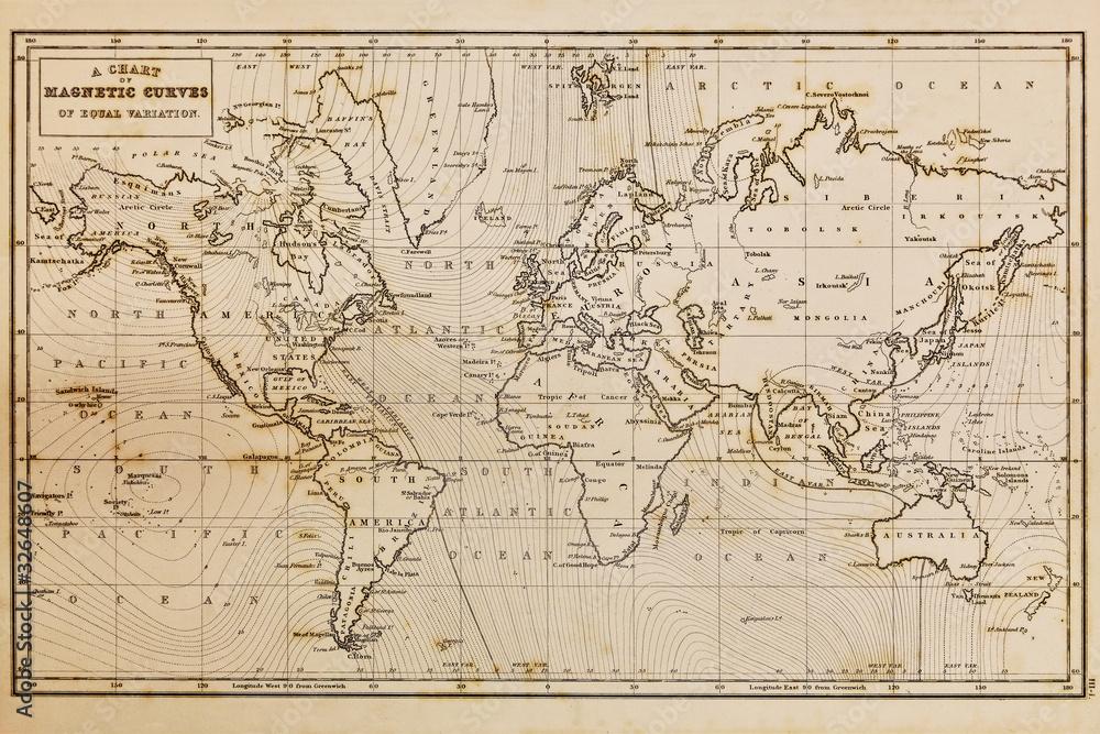Photo  Old hand drawn vintage world map