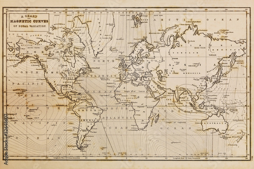 Fotografie, Obraz  Old hand drawn vintage world map