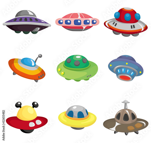 Photo  cartoon ufo spaceship icon set