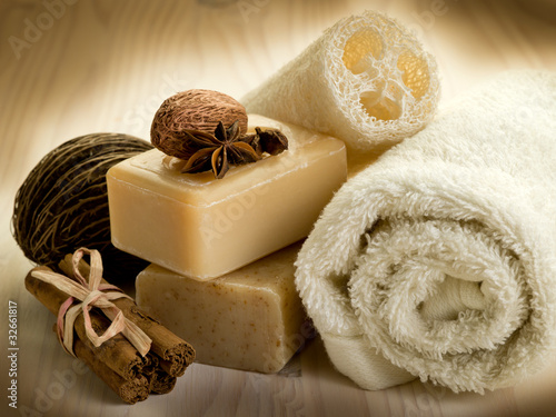 Fotografie, Obraz  natural spices soap with bath accessories