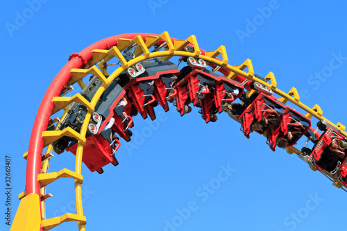 Photo sur Toile Attraction parc Rollercoaster Ride