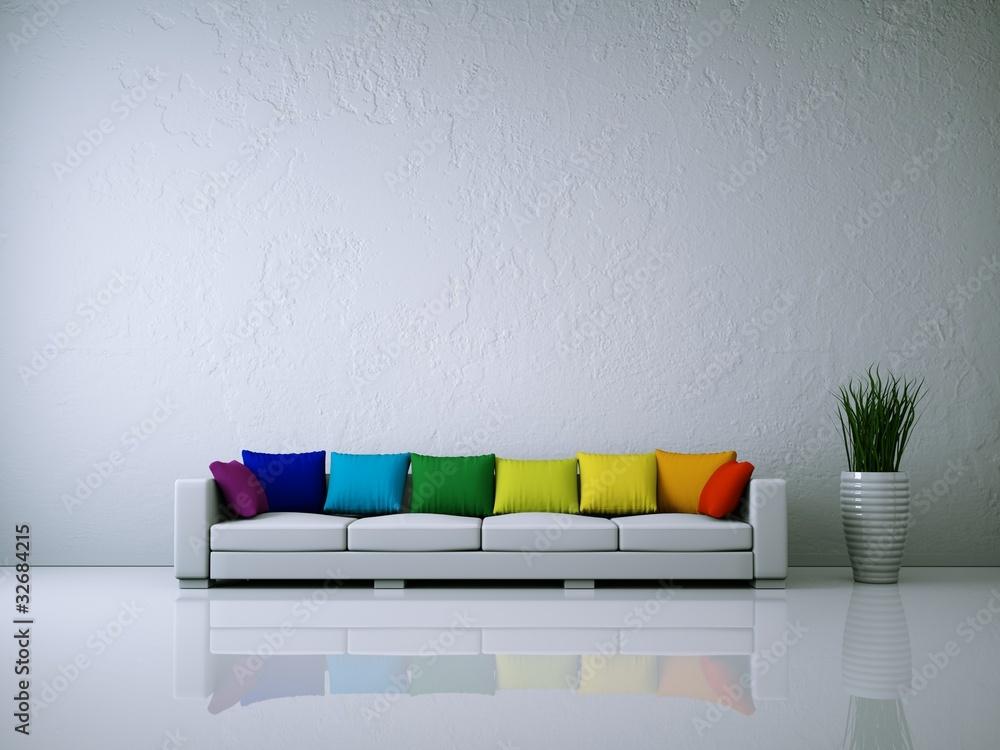 Fototapeta Weißes Sofa mit Kissen Regenbogenfarben