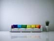 Leinwanddruck Bild - Weißes Sofa mit Kissen Regenbogenfarben