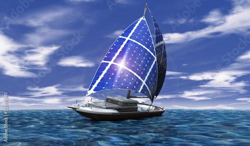 Foto-Doppelrollo - Solar Segelboot 02 (von pro motion pic)