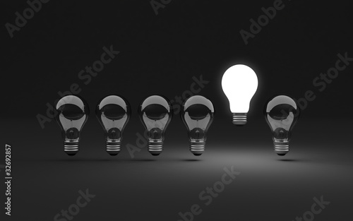 Six light bulbs Wallpaper Mural