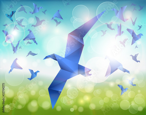 Animaux geometriques Paper Flight, Origami Blue Birds fly over beautiful landscape.
