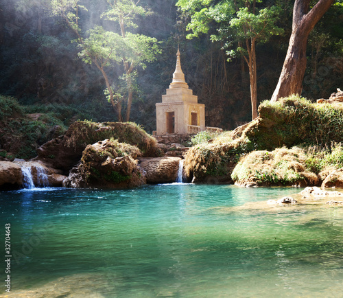 Canvas Prints Olive Waterfall in Myanmar