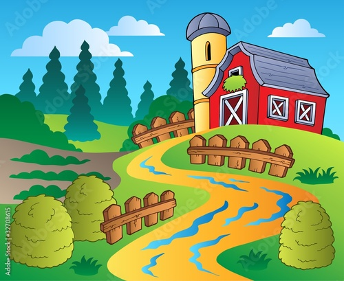 Deurstickers Pony Country scene with red barn 4