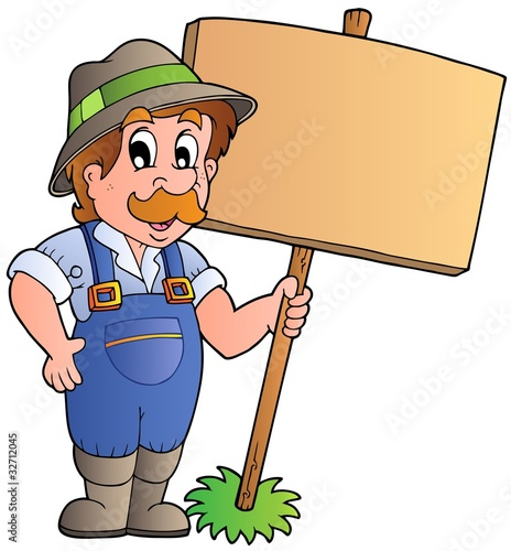 Spoed Foto op Canvas Boerderij Cartoon farmer holding wooden board
