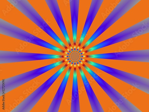 Poster Psychedelique Orange and Blue Sun-Burst