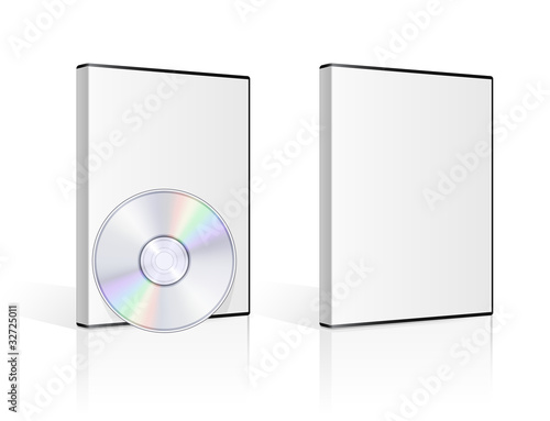 Fotografía  DVD case and disk on white background