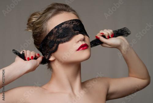 Fotografie, Obraz  Fashion portrait with black lace