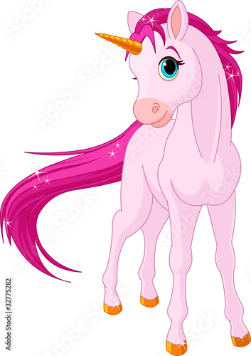 Deurstickers Pony Baby unicorn