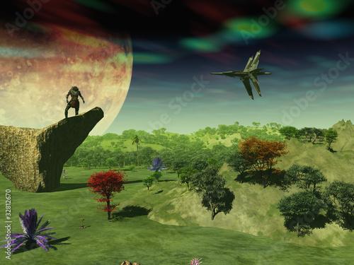 Foto op Canvas Kosmos alien y nave