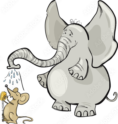 Poster de jardin Zoo mouse and elephant