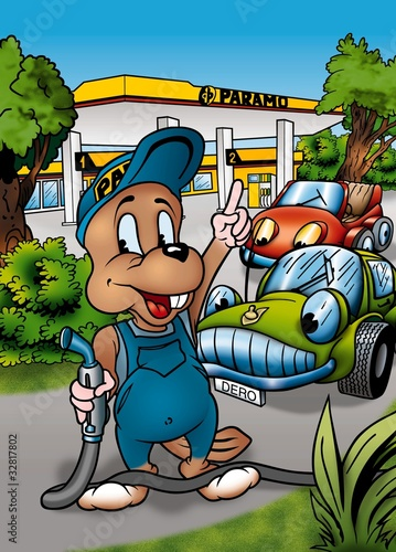 Foto op Canvas Cars Castor and Gas Station - Cartoon Background Illustration