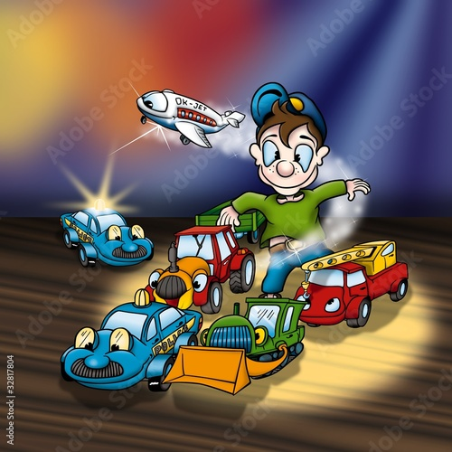 Foto op Canvas Cars Cartoon Toys - Cheerful Background Illustration