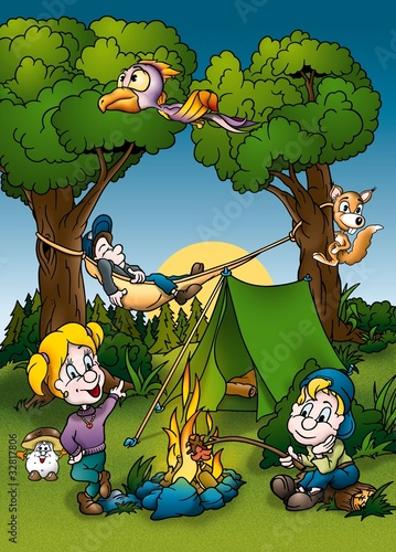 Foto auf AluDibond Waldtiere Camping - Cartoon Background Illustration