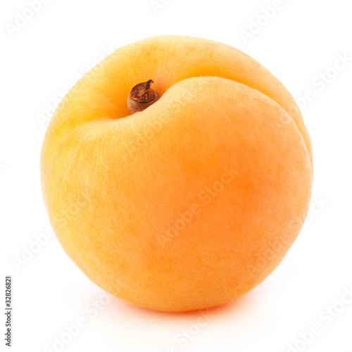 Vászonkép Apricot fruits with leaves isolated on white background