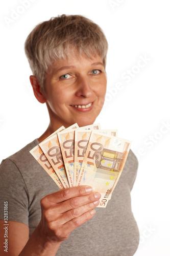 Poster  erwachsene Frau mit Geldscheinen