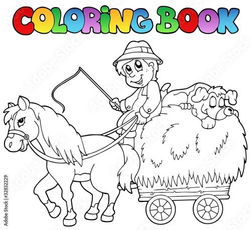 Türaufkleber Zum Malen Coloring book with cart and farmer