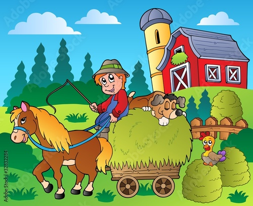 Deurstickers Honden Country scene with red barn 9