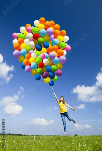 Fotografie, Obraz  Flying with balloons