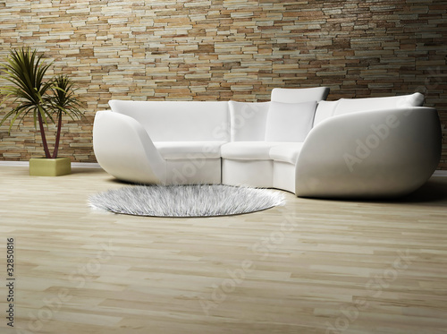 Modern Interieur Wit : A modern interior wit a sofa a carpet and a plant buy this