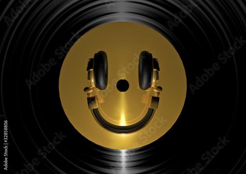 Etiqueta engomada - Vinyl headphone smiley