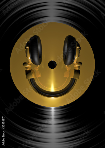 Sticker - Vinyl headphone smiley gold