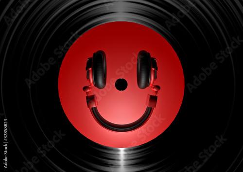 Etiqueta engomada - Vinyl headphone smiley red
