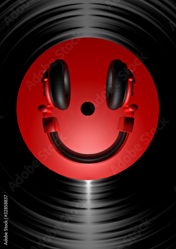 Sticker - Vinyl headphone smiley red