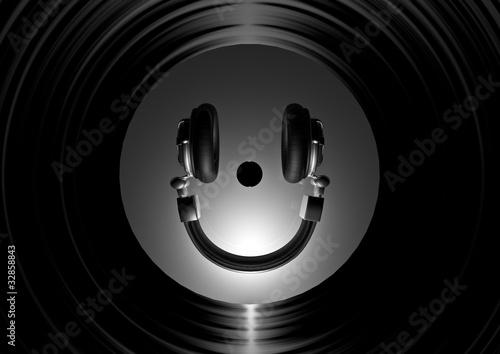 Etiqueta engomada - Vinyl headphone smiley silver