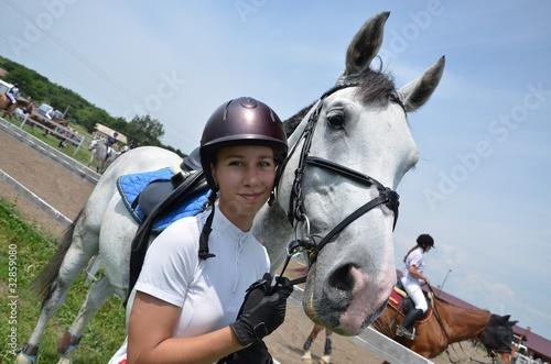 Fototapeta femme et cheval obraz