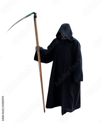 Photo Grim Reaper isolated on the white