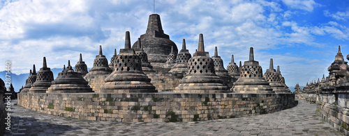 Deurstickers Indonesië Panorama Borobudur Temple.