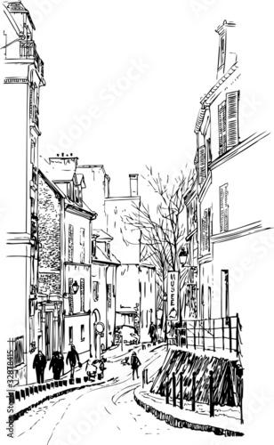 Recess Fitting Art Studio view of Montmartre in Paris under snow