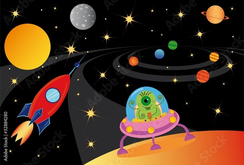 Foto op Canvas Kosmos alien in the spaceship in the universe