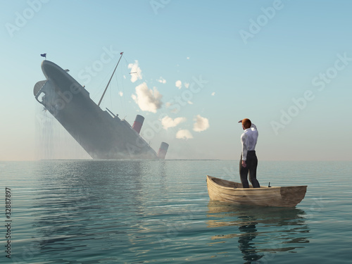 Fotomural rescued man in boat looking on shipwreck