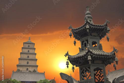 Foto op Plexiglas Xian Sunset in the Giant Wild Goose Pagoda, X'ian, China