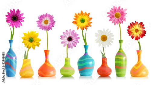 Daisy Flowers In Vases Buy This Stock Photo And Explore Similar