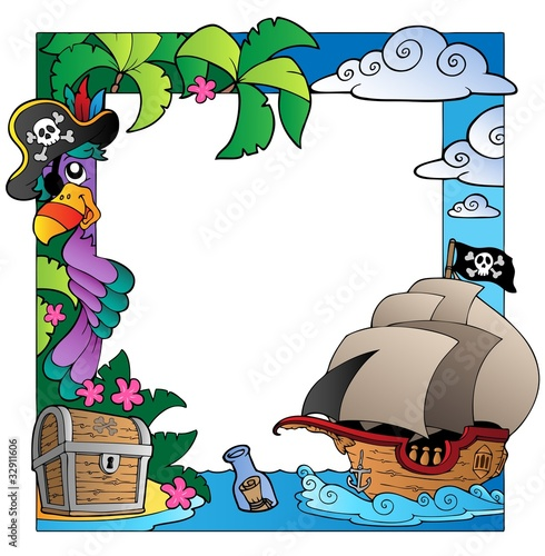 Foto op Plexiglas Piraten Frame with sea and pirate theme 4