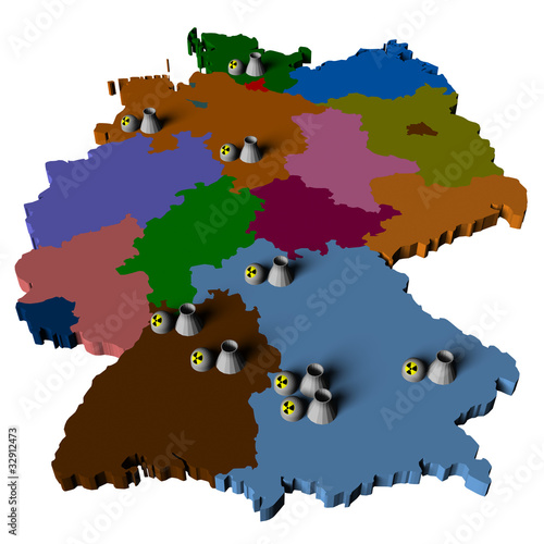 Karte 9 Atomkraftwerke Deutschland Buy This Stock Illustration