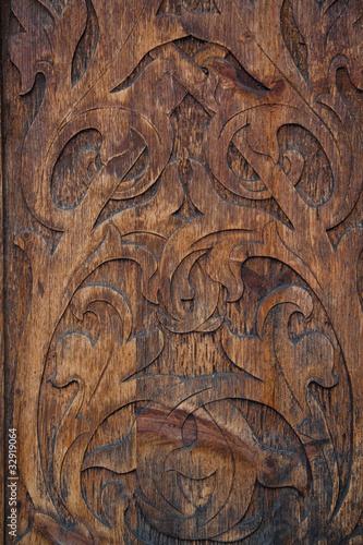 Fotografering fondo di legno vecchio intagliato